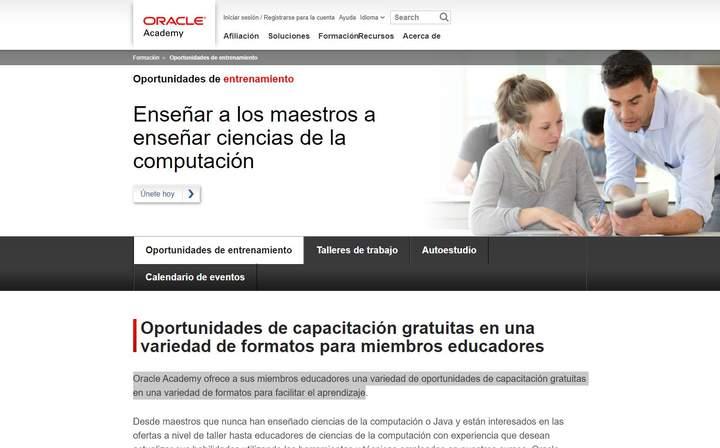 Cursos de formación para docentes de Oracle Academy